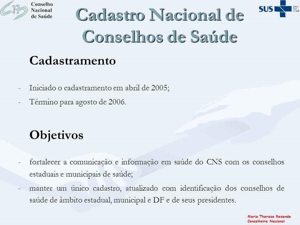 Maria Thereza Rezende Conselheira Nacional Cadastro Nacional de Conselhos de Saúde Cadastramento -Iniciado o cadastramento em abril de 2005; -Término