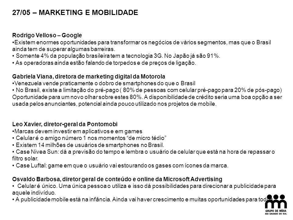 27/05 – MARKETING E MOBILIDADE Rodrigo Velloso – Google Existem enormes oportunidades para transformar os negócios de vários segmentos, mas que o Brasil ainda tem de superar algumas barreiras.