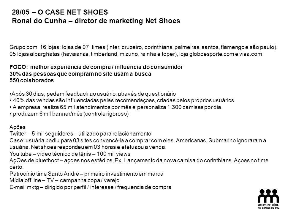 28/05 – ANUNCIANTES + AGENCIAS Ronal do Cunha – diretor de marketing Net Shoes HERANDER ZOLA – VOLKSWAGEN / SERGIO MUGNAINI – ALMAP BBDO Case FOX Toda inovação tem um risco.