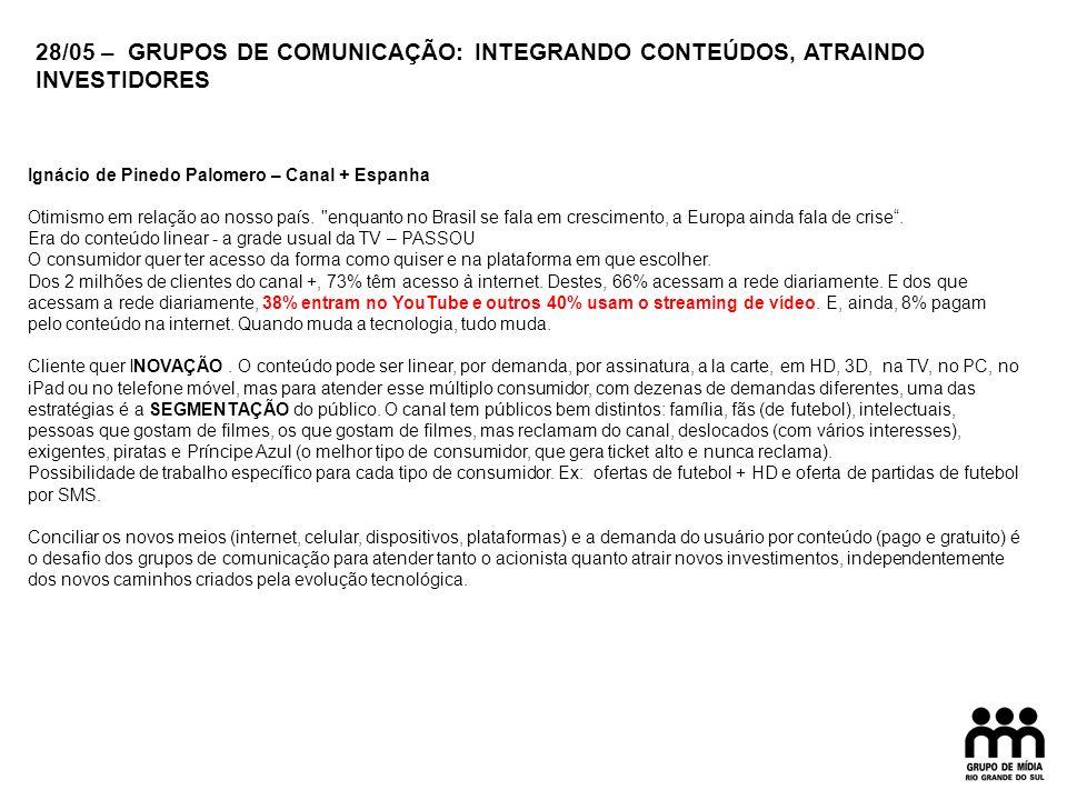 Ignácio de Pinedo Palomero – Canal + Espanha Otimismo em relação ao nosso país.