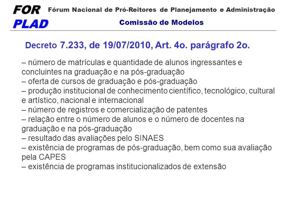 FOR PLAD Fórum Nacional de Pró-Reitores de Planejamento e Administração Comissão de Modelos Decreto 7.233, de 19/07/2010, Art. 4o. parágrafo 2o. – núm