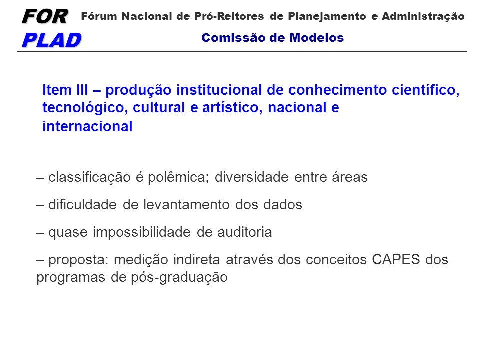 FOR PLAD Fórum Nacional de Pró-Reitores de Planejamento e Administração Comissão de Modelos Item III – produção institucional de conhecimento científi