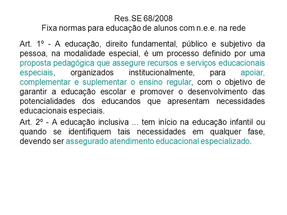 Res.SE 68/2008 Fixa normas para educação de alunos com n.e.e. na rede Art. 1º - A educação, direito fundamental, público e subjetivo da pessoa, na mod