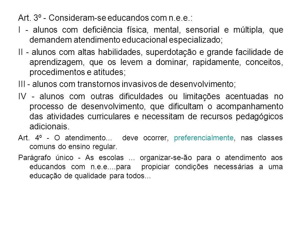 Art. 3º - Consideram-se educandos com n.e.e.: I - alunos com deficiência física, mental, sensorial e múltipla, que demandem atendimento educacional es