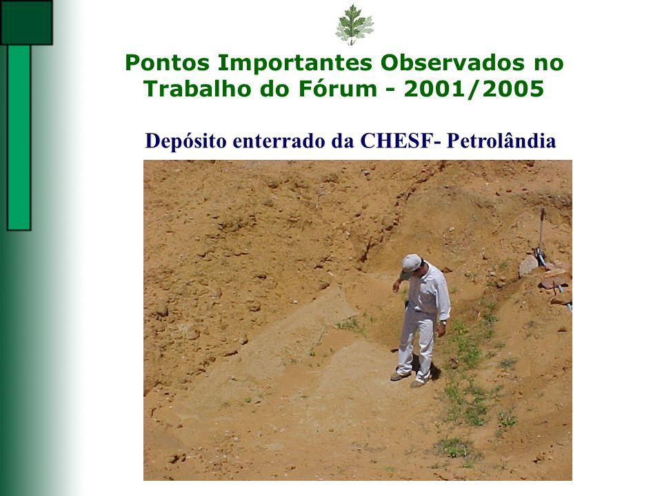 Pontos Importantes Observados no Trabalho do Fórum - 2001/2005 Depósito enterrado da CHESF- Petrolândia