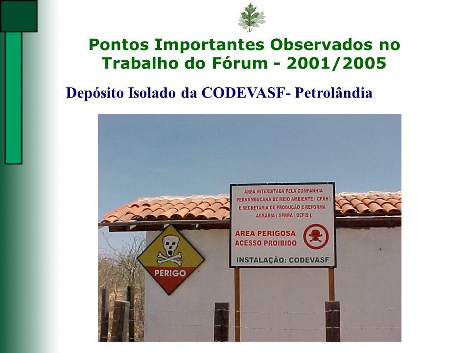 Pontos Importantes Observados no Trabalho do Fórum - 2001/2005 Depósito Isolado da CODEVASF- Petrolândia