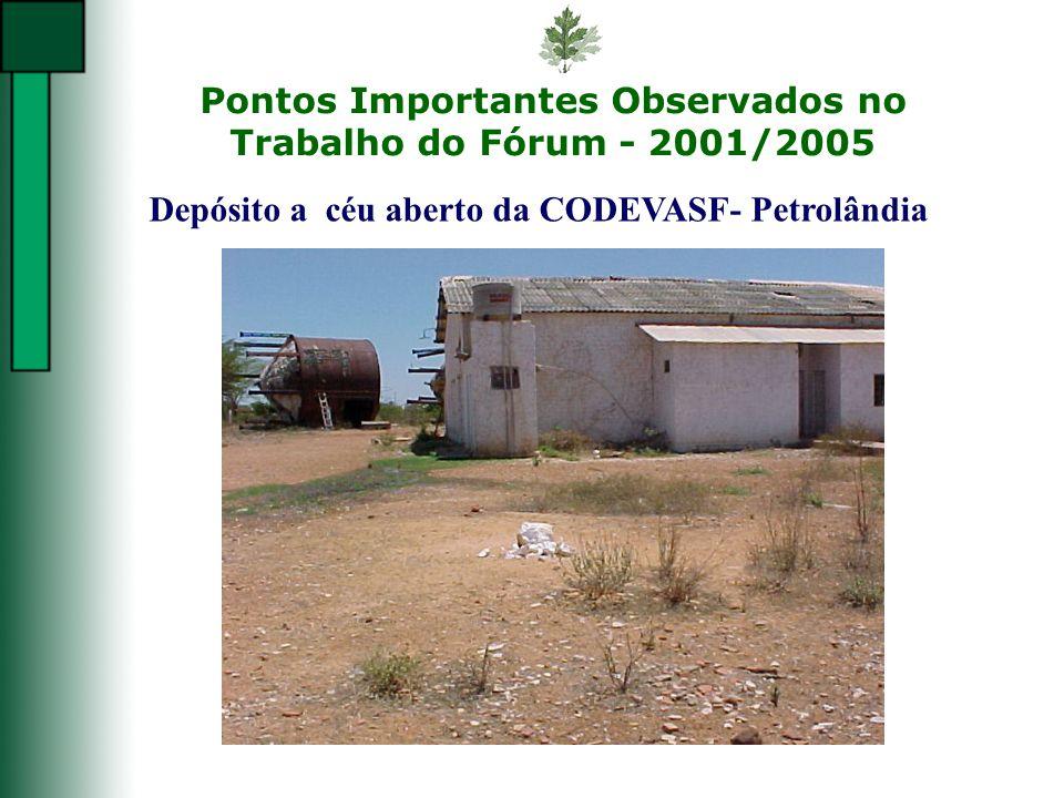 Pontos Importantes Observados no Trabalho do Fórum - 2001/2005 Depósito a céu aberto da CODEVASF- Petrolândia