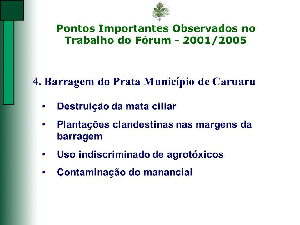 Pontos Importantes Observados no Trabalho do Fórum - 2001/2005 4. Barragem do Prata Município de Caruaru Destruição da mata ciliar Plantações clandest