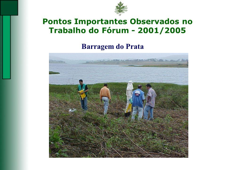 Pontos Importantes Observados no Trabalho do Fórum - 2001/2005 Barragem do Prata