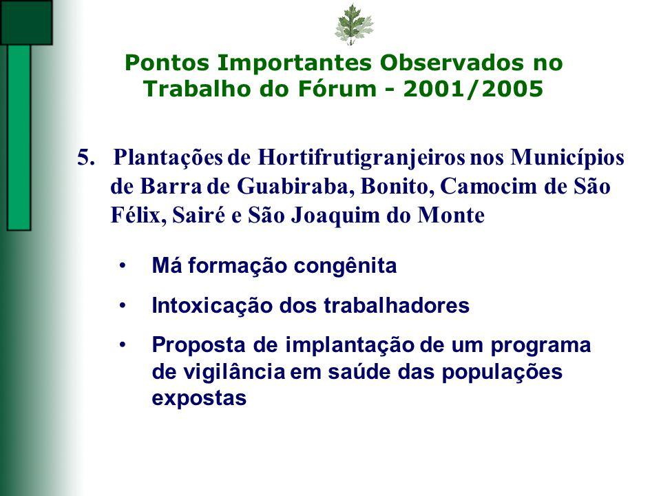 Pontos Importantes Observados no Trabalho do Fórum - 2001/2005 Má formação congênita Intoxicação dos trabalhadores Proposta de implantação de um progr