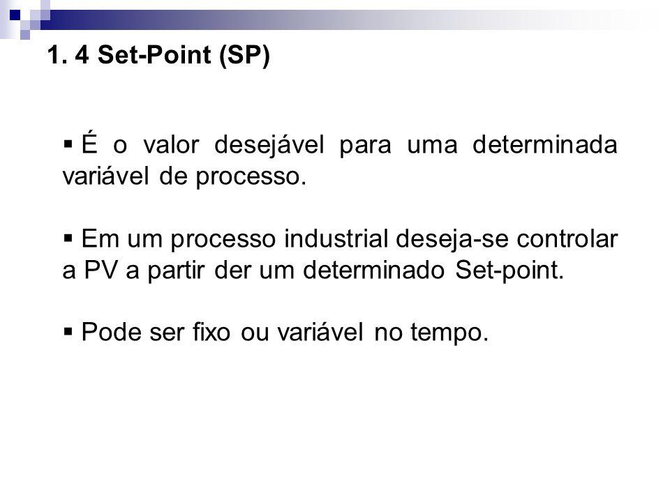 1. 4 Set-Point (SP) É o valor desejável para uma determinada variável de processo. Em um processo industrial deseja-se controlar a PV a partir der um