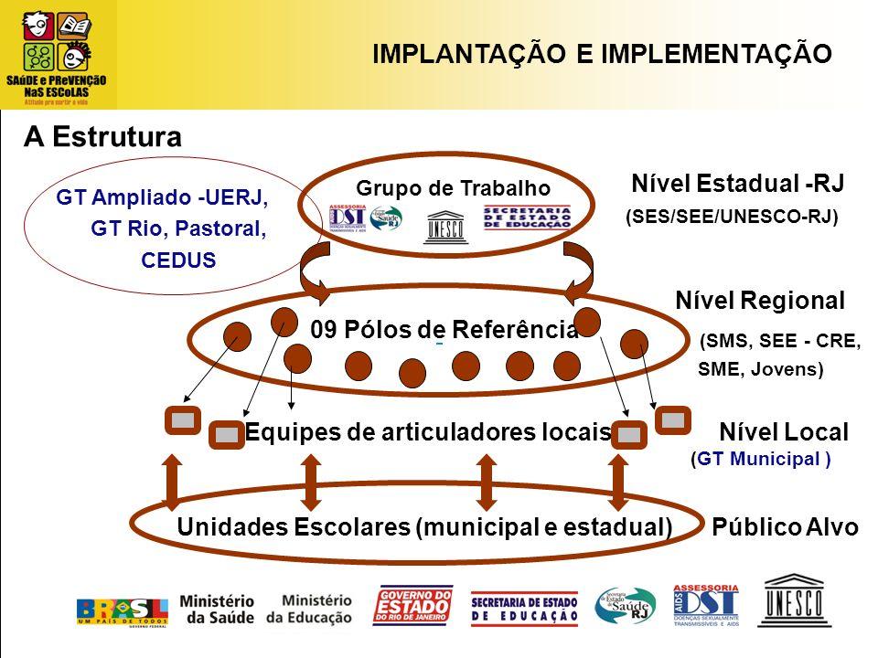 IMPLANTAÇÃO E IMPLEMENTAÇÃO Grupo de Trabalho Nível Estadual -RJ Unidades Escolares (municipal e estadual) Equipes de articuladores locais (SES/SEE/UN