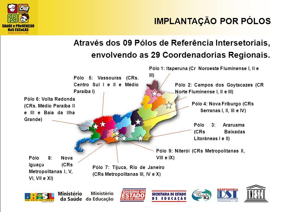A través dos 09 Pólos de Referência Intersetoriais, envolvendo as 29 Coordenadorias Regionais. Pólo 9: Niterói (CRs Metropolitanas II, VIII e IX) Pólo
