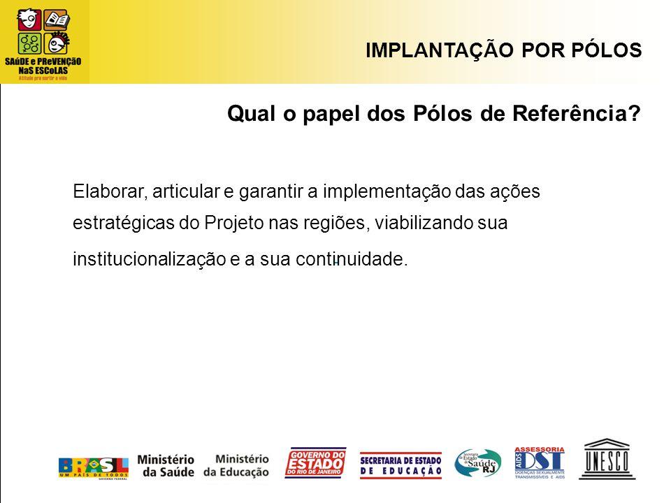 Qual o papel dos Pólos de Referência? Elaborar, articular e garantir a implementação das ações estratégicas do Projeto nas regiões, viabilizando sua i