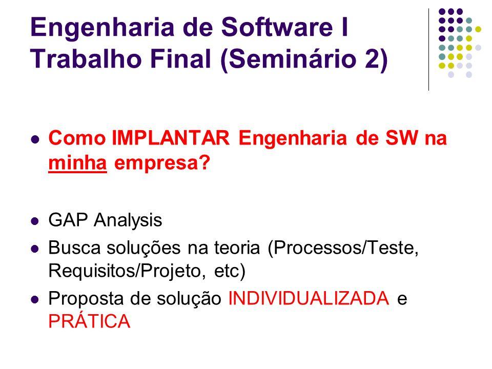 Engenharia de Software I Trabalho Final (Seminário 2) Como IMPLANTAR Engenharia de SW na minha empresa? GAP Analysis Busca soluções na teoria (Process