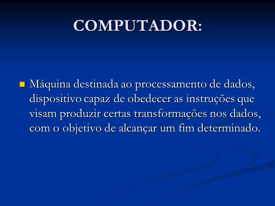 DIVISÃO Todo computador é dividido basicamente em dois segmentos distintos: Todo computador é dividido basicamente em dois segmentos distintos: Hardware => Todos componentes físicos contidos no computador.