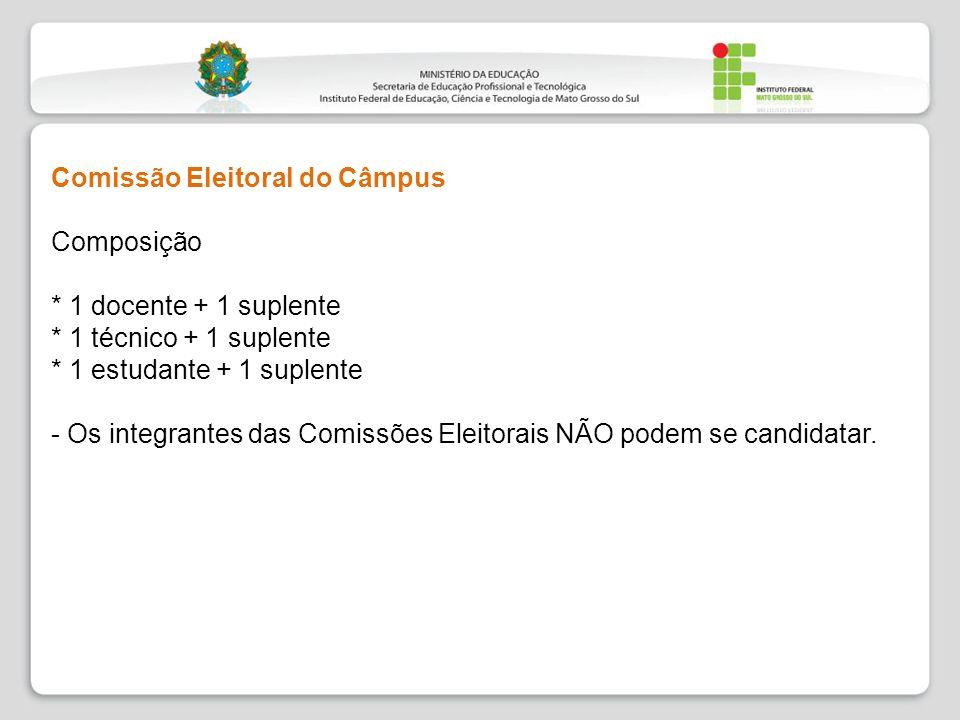 Comissão Eleitoral do Câmpus Composição * 1 docente + 1 suplente * 1 técnico + 1 suplente * 1 estudante + 1 suplente - Os integrantes das Comissões El