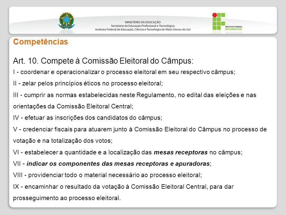 Competências Art. 10. Compete à Comissão Eleitoral do Câmpus: I - coordenar e operacionalizar o processo eleitoral em seu respectivo câmpus; II - zela