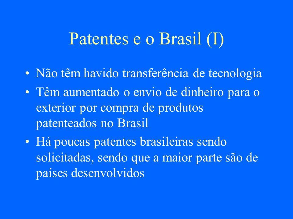 Patentes e o Brasil (I) Não têm havido transferência de tecnologia Têm aumentado o envio de dinheiro para o exterior por compra de produtos patenteado