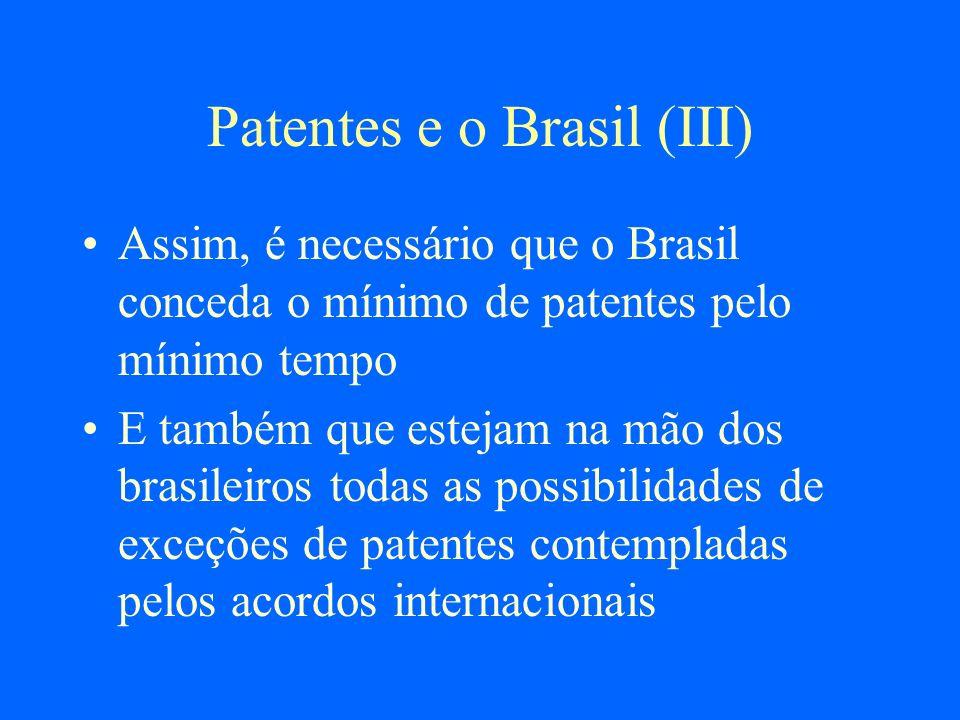 Patentes e o Brasil (III) Assim, é necessário que o Brasil conceda o mínimo de patentes pelo mínimo tempo E também que estejam na mão dos brasileiros