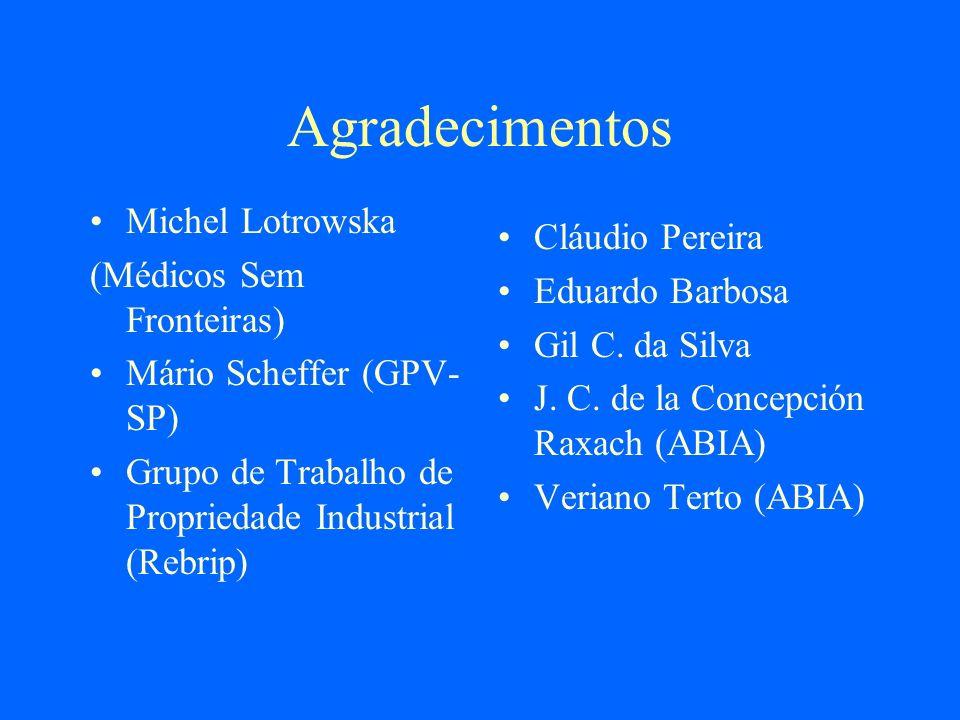 Agradecimentos Michel Lotrowska (Médicos Sem Fronteiras) Mário Scheffer (GPV- SP) Grupo de Trabalho de Propriedade Industrial (Rebrip) Cláudio Pereira