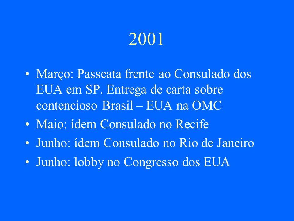 Conf.Estadual de Saúde (2001) Moção apresentada pelo Fórum de ONGs/AIDS de SP: Que a lei de patentes brasileira ( Lei Federal N º 9.279/96) seja revisada para garantir a aplicação da recente deliberação da Organização Mundial do Comércio (OMC) de que, nos acordos internacionais de propriedade intelectual, nada deve impedir que os países membros tomem medidas para proteger a saúde pública.