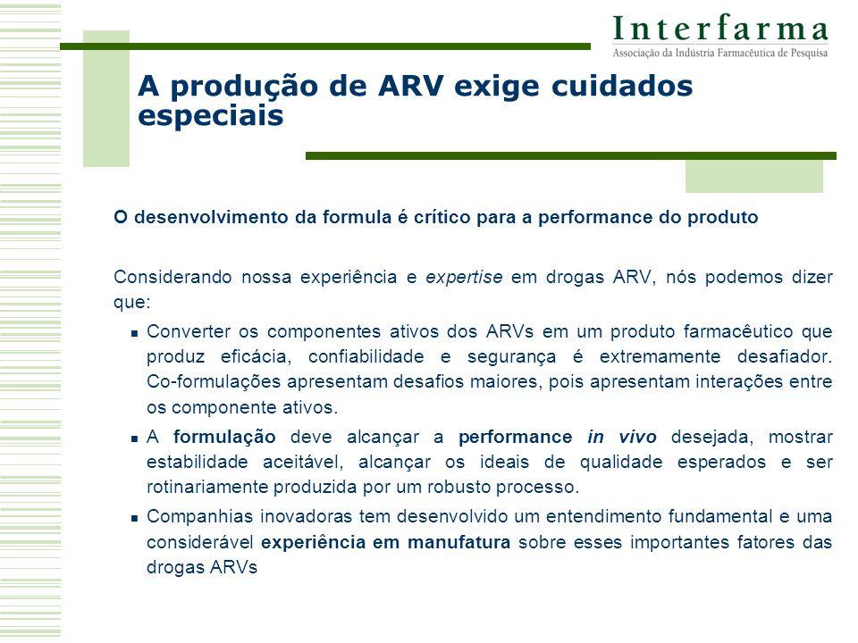 O desenvolvimento da formula é crítico para a performance do produto Considerando nossa experiência e expertise em drogas ARV, nós podemos dizer que: Converter os componentes ativos dos ARVs em um produto farmacêutico que produz eficácia, confiabilidade e segurança é extremamente desafiador.
