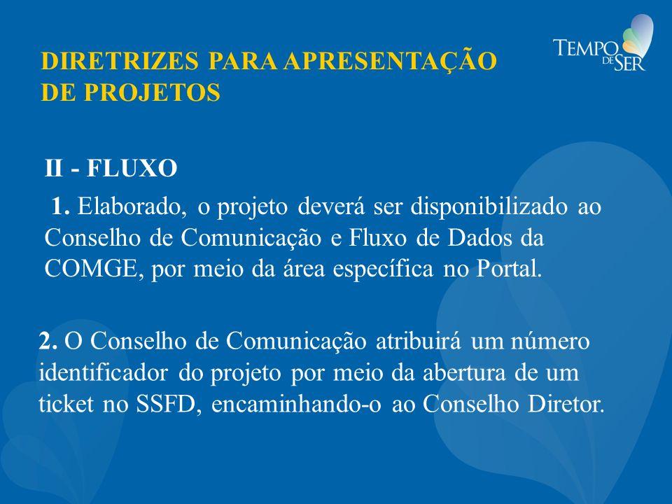 DIRETRIZES PARA APRESENTAÇÃO DE PROJETOS 2. O Conselho de Comunicação atribuirá um número identificador do projeto por meio da abertura de um ticket n