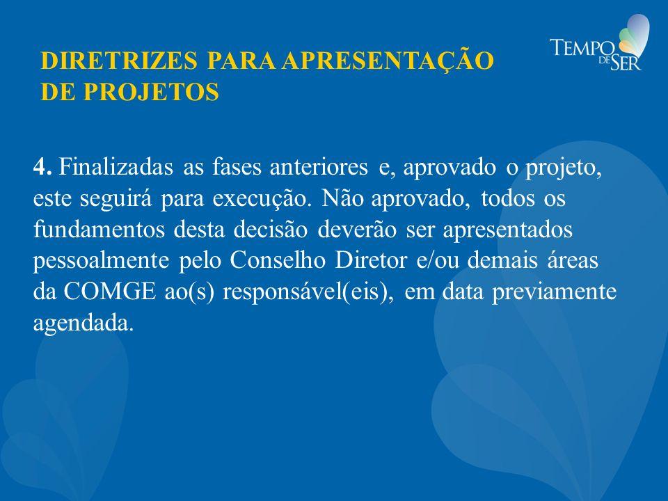 DIRETRIZES PARA APRESENTAÇÃO DE PROJETOS 4. Finalizadas as fases anteriores e, aprovado o projeto, este seguirá para execução. Não aprovado, todos os