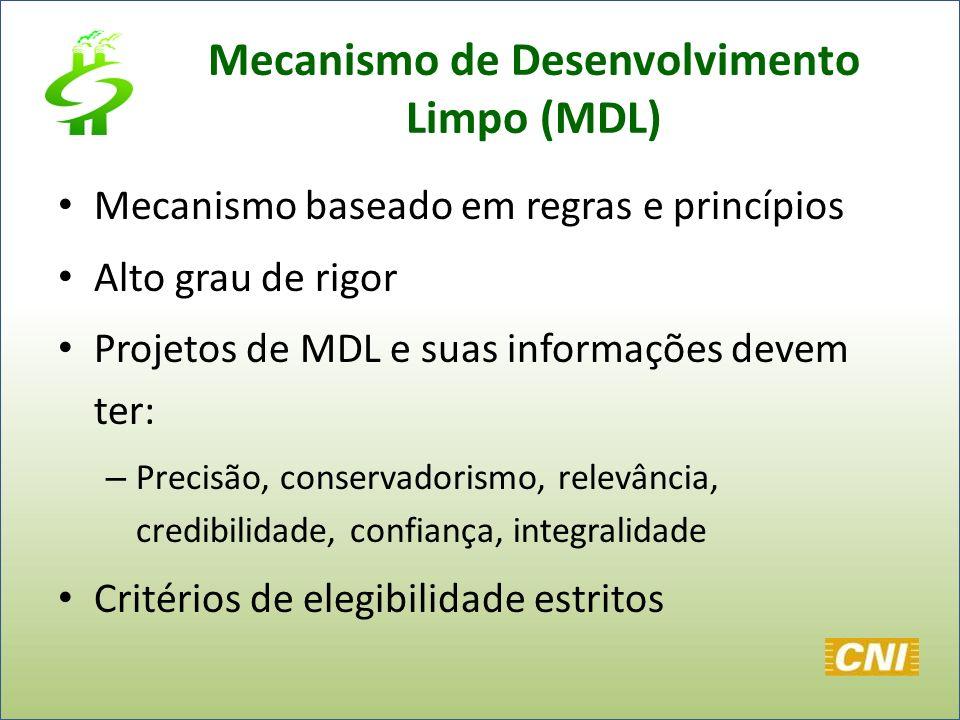 Mecanismo de Desenvolvimento Limpo (MDL) Mecanismo baseado em regras e princípios Alto grau de rigor Projetos de MDL e suas informações devem ter: – P