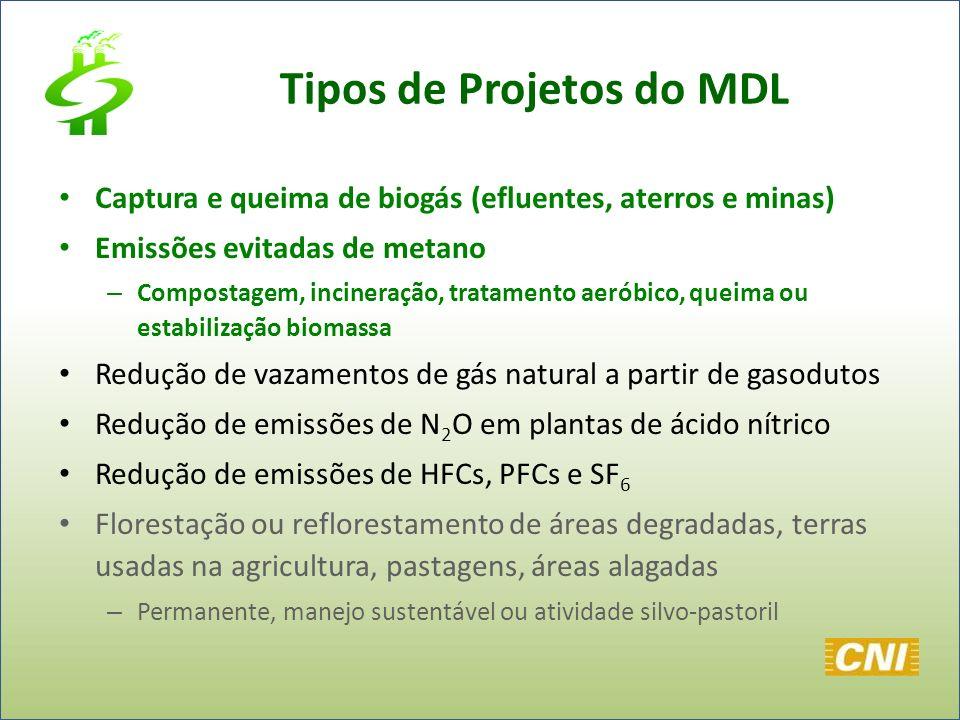 Tipos de Projetos do MDL Captura e queima de biogás (efluentes, aterros e minas) Emissões evitadas de metano – Compostagem, incineração, tratamento ae