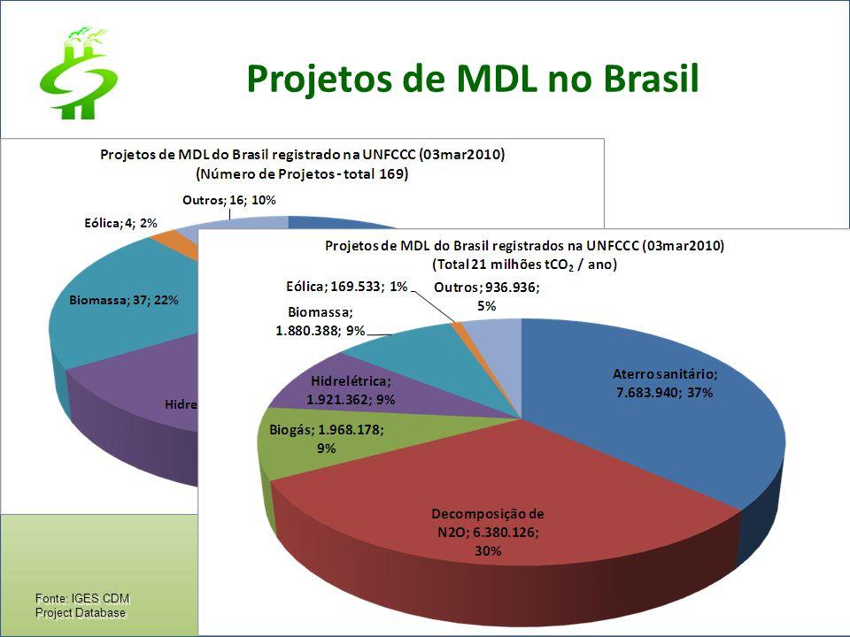 Fonte: IGES CDM Project Database Projetos de MDL no Brasil