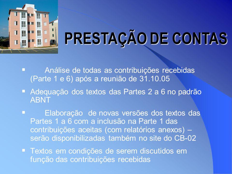Entidades que mandaram contribuições ABCP Abesc Asbea Assessoria –Hexagrama Bloco Brasil PRESTAÇÃO DE CONTAS Cebrace Fortenge GSI – USP Ibape