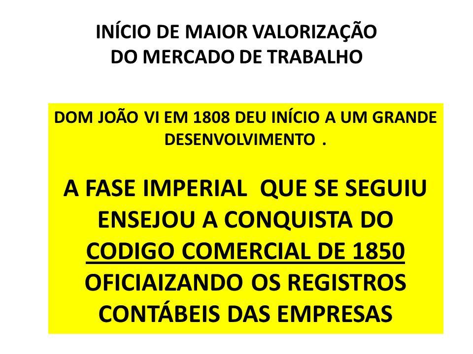 INÍCIO DE MAIOR VALORIZAÇÃO DO MERCADO DE TRABALHO DOM JOÃO VI EM 1808 DEU INÍCIO A UM GRANDE DESENVOLVIMENTO. A FASE IMPERIAL QUE SE SEGUIU ENSEJOU A