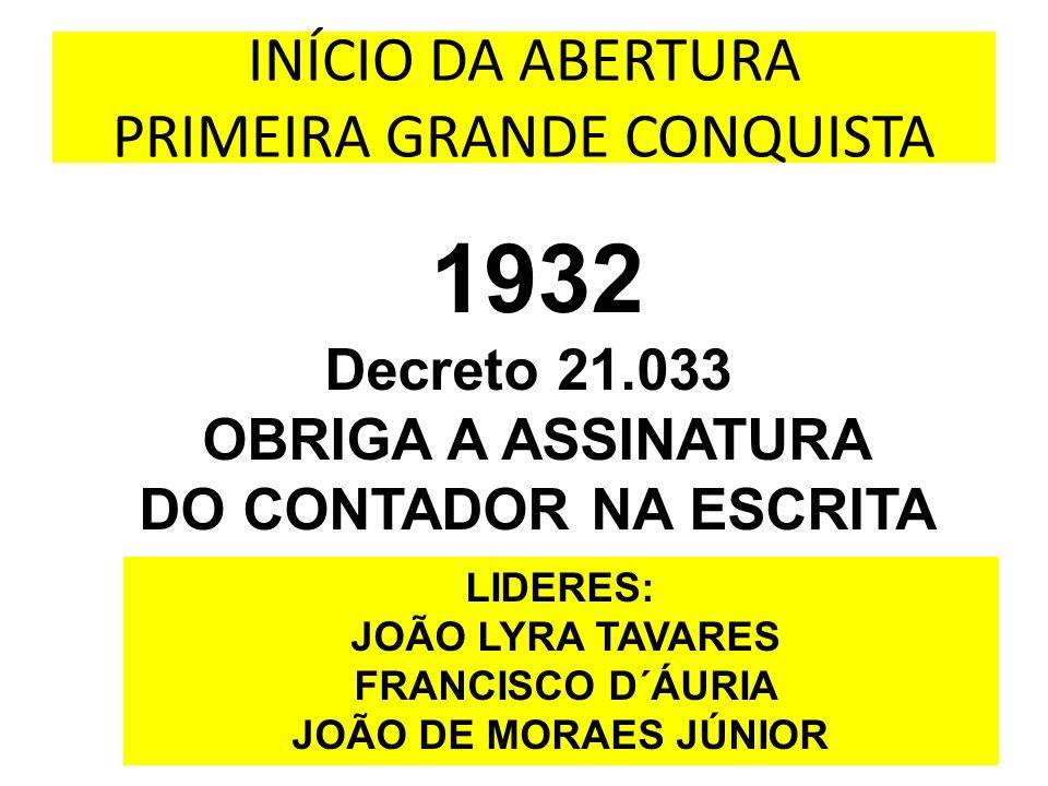 INÍCIO DA ABERTURA PRIMEIRA GRANDE CONQUISTA 1932 Decreto 21.033 OBRIGA A ASSINATURA DO CONTADOR NA ESCRITA LIDERES: JOÃO LYRA TAVARES FRANCISCO D´ÁUR