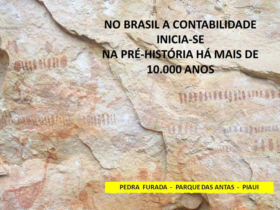 NO BRASIL A CONTABILIDADE INICIA-SE NA PRÉ-HISTÓRIA HÁ MAIS DE 10.000 ANOS PEDRA FURADA - PARQUE DAS ANTAS - PIAUI