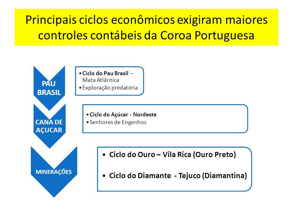 Principais ciclos econômicos exigiram maiores controles contábeis da Coroa Portuguesa PAU BRASIL Ciclo do Pau Brasil – Mata Atlântica Exploração preda