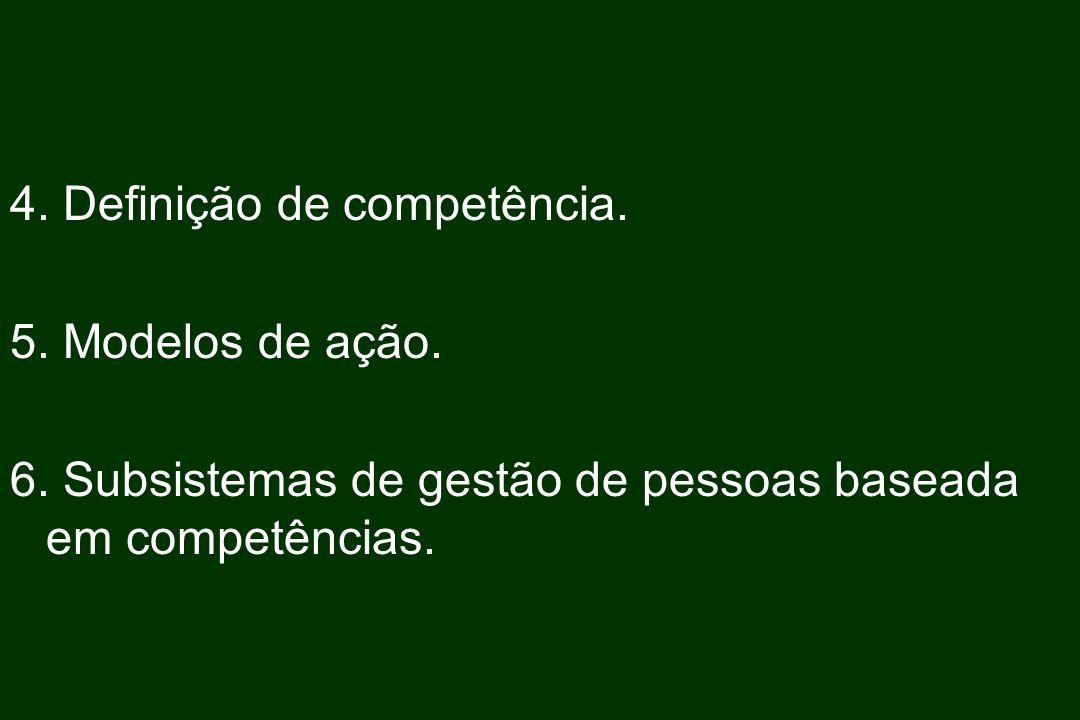 4. Definição de competência. 5. Modelos de ação. 6. Subsistemas de gestão de pessoas baseada em competências.