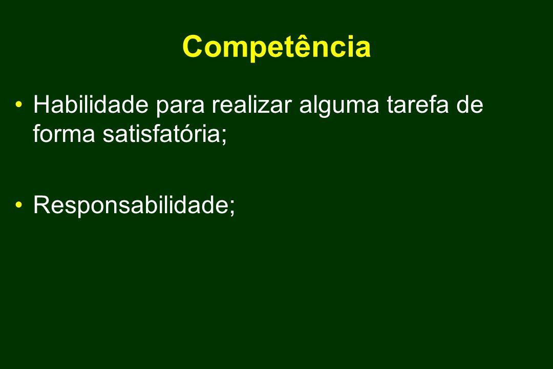 Competência Habilidade para realizar alguma tarefa de forma satisfatória; Responsabilidade;