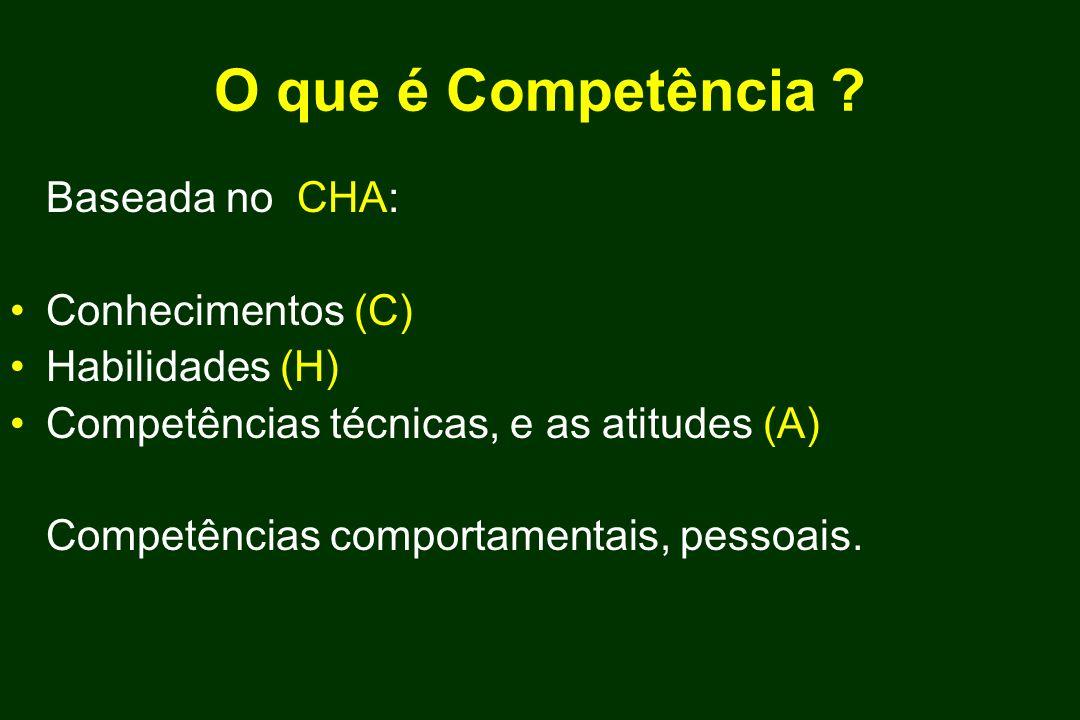 O que é Competência ? Baseada no CHA: Conhecimentos (C) Habilidades (H) Competências técnicas, e as atitudes (A) Competências comportamentais, pessoai