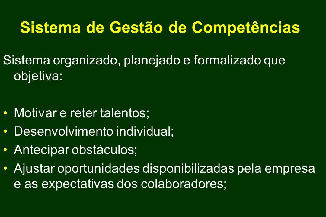 Sistema de Gestão de Competências Sistema organizado, planejado e formalizado que objetiva: Motivar e reter talentos; Desenvolvimento individual; Ante