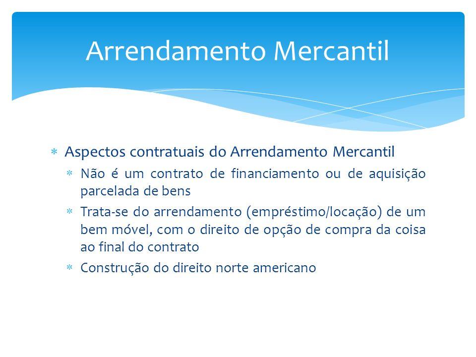 Aspectos contratuais do Arrendamento Mercantil Não é um contrato de financiamento ou de aquisição parcelada de bens Trata-se do arrendamento (emprésti