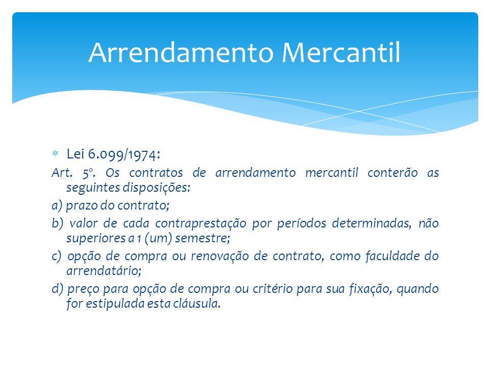 Lei 6.099/1974: Art. 5º. Os contratos de arrendamento mercantil conterão as seguintes disposições: a) prazo do contrato; b) valor de cada contrapresta