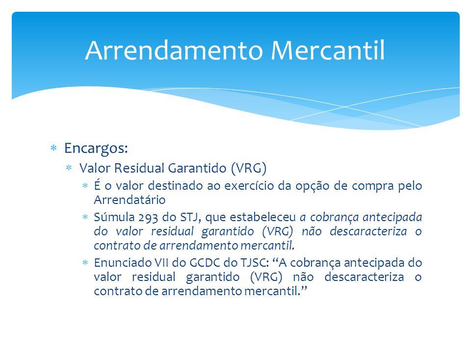 Encargos: Valor Residual Garantido (VRG) É o valor destinado ao exercício da opção de compra pelo Arrendatário Súmula 293 do STJ, que estabeleceu a co