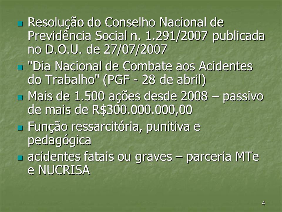 4 Resolução do Conselho Nacional de Previdência Social n. 1.291/2007 publicada no D.O.U. de 27/07/2007 Resolução do Conselho Nacional de Previdência S
