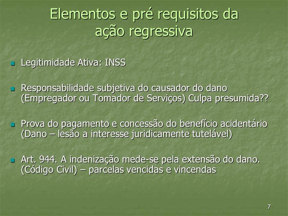 7 Elementos e pré requisitos da ação regressiva Legitimidade Ativa: INSS Legitimidade Ativa: INSS Responsabilidade subjetiva do causador do dano (Empr