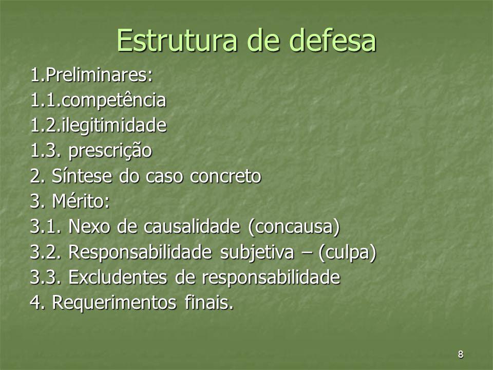 8 Estrutura de defesa 1.Preliminares:1.1.competência1.2.ilegitimidade 1.3. prescrição 2. Síntese do caso concreto 3. Mérito: 3.1. Nexo de causalidade
