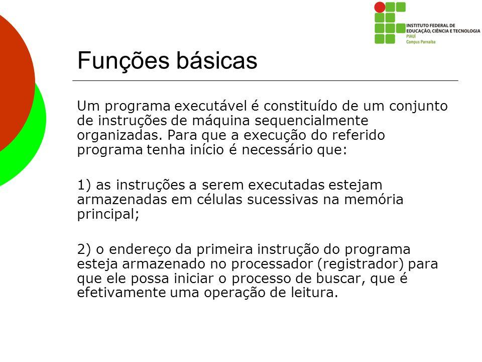 Funções básicas Um programa executável é constituído de um conjunto de instruções de máquina sequencialmente organizadas. Para que a execução do refer