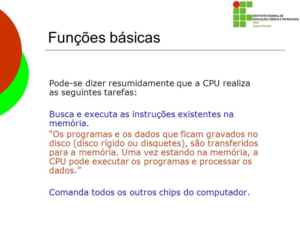 Funções básicas Pode-se dizer resumidamente que a CPU realiza as seguintes tarefas: Busca e executa as instruções existentes na memória. Os programas