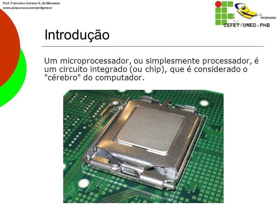 Introdução Os microprocessadores formam uma parte importantíssima do computador, chamada de UCP (Unidade Central de Processamento), ou em inglês, CPU (Central Processing Unit).